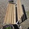 restored 20th century oak garden bench